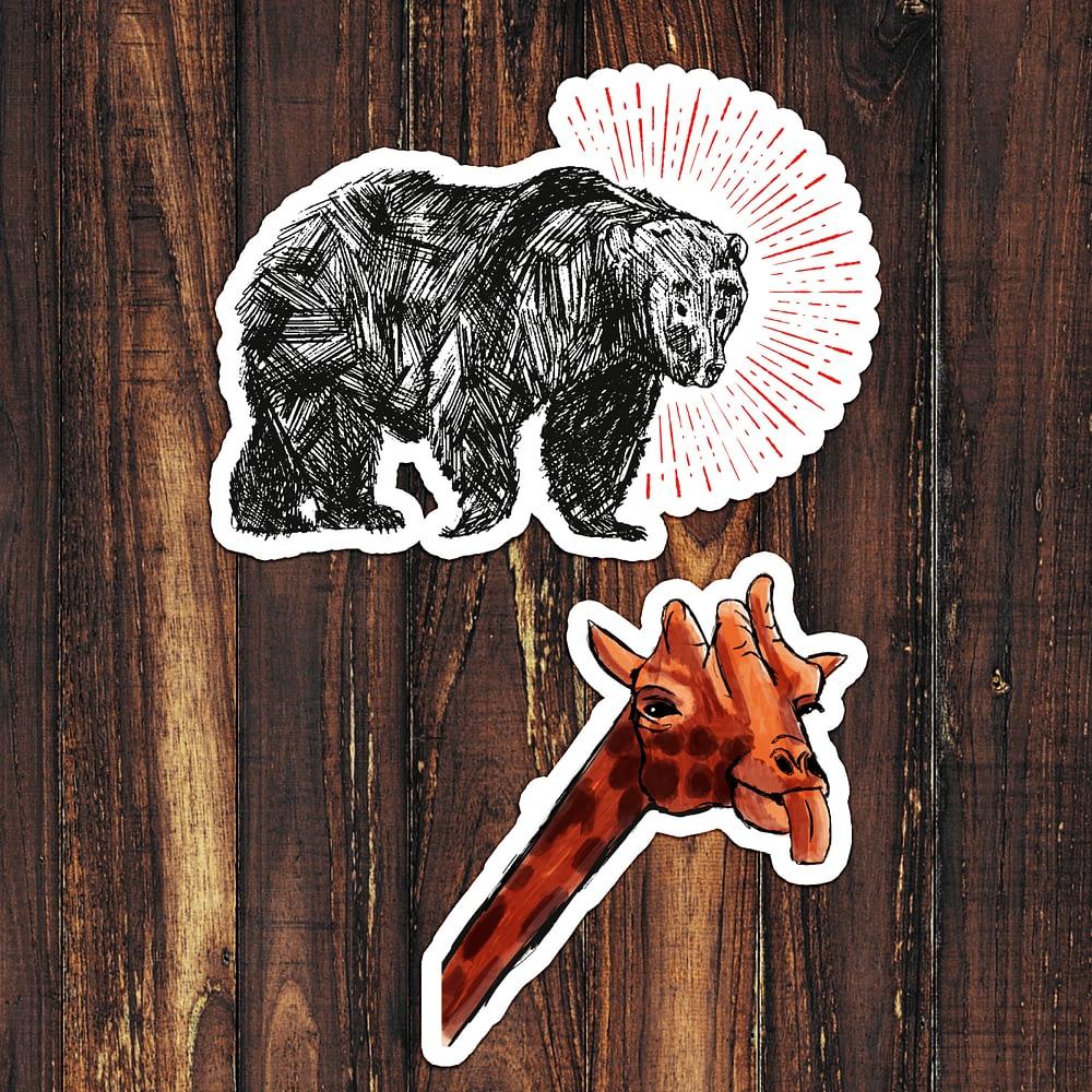 Bear & Giraffe Pack Stickers