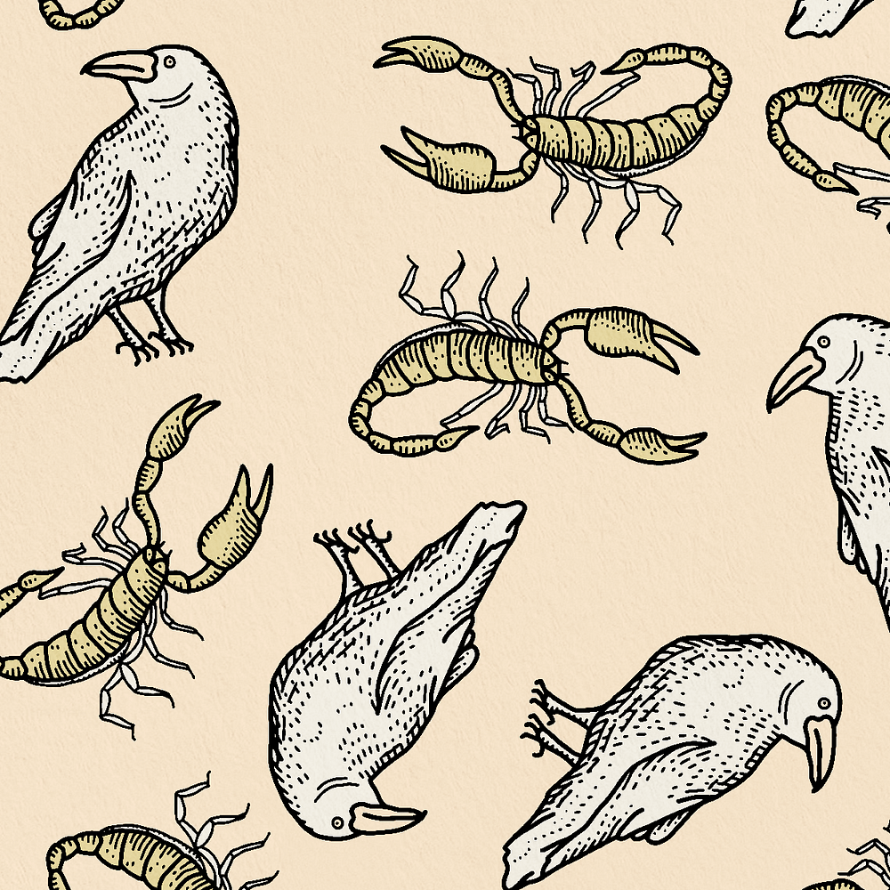 Birds & Scorpions Print Zoomed