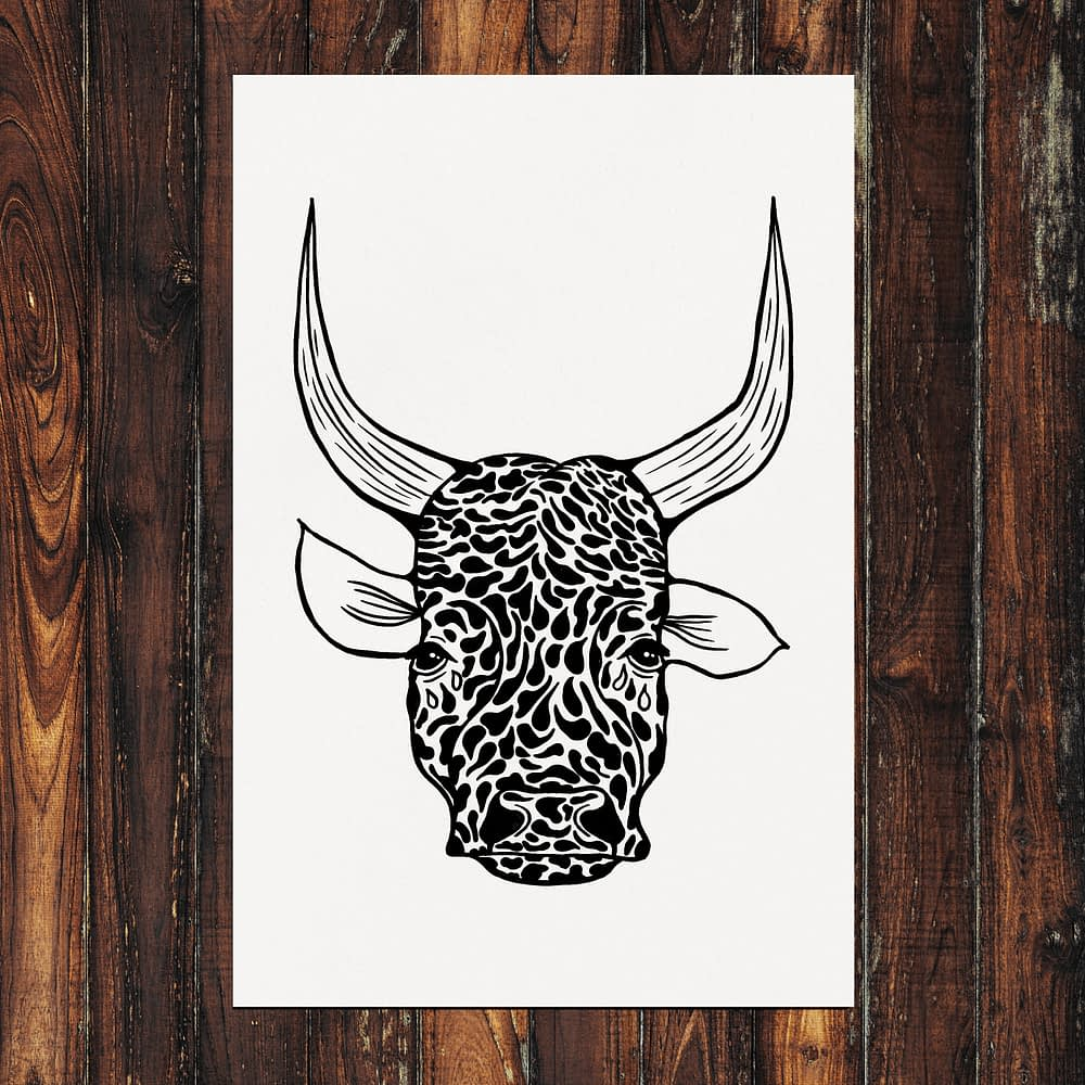 Cow with Tears Print