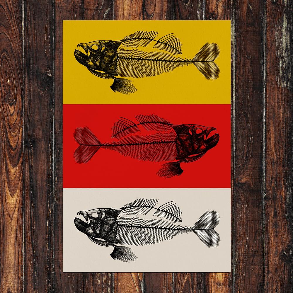 Fish Bones Print Zoomed