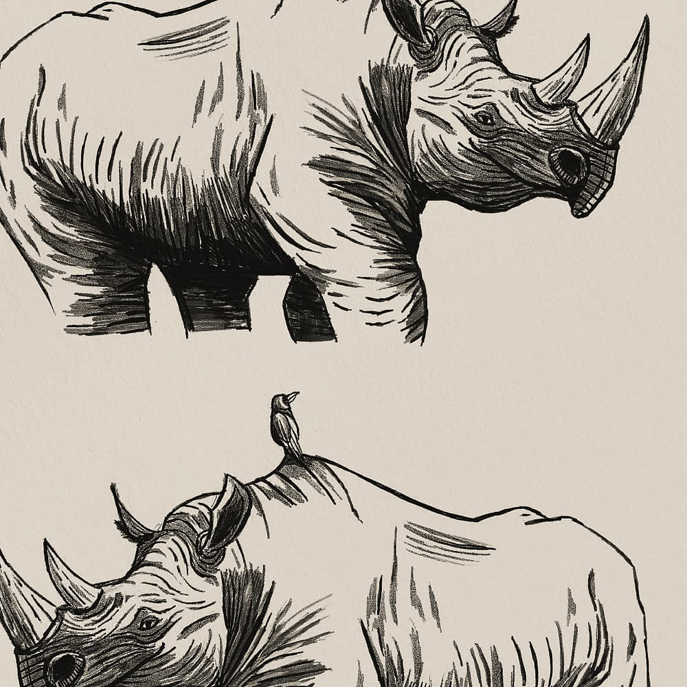 Rhino & Bird Print Zoomed
