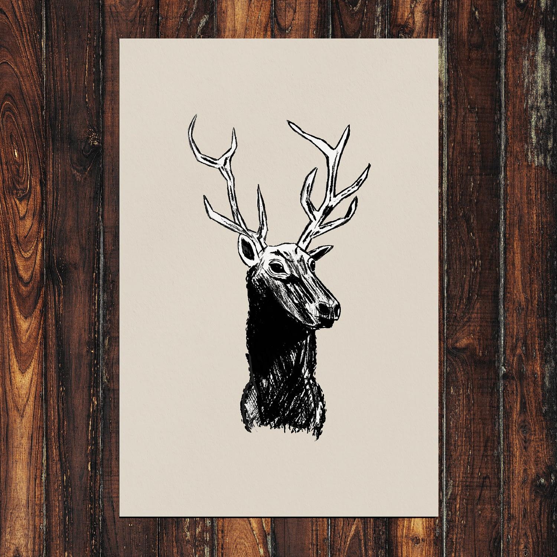 Deer Print 24x36