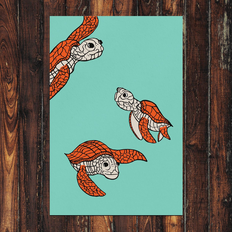 Turtles Print 24x36